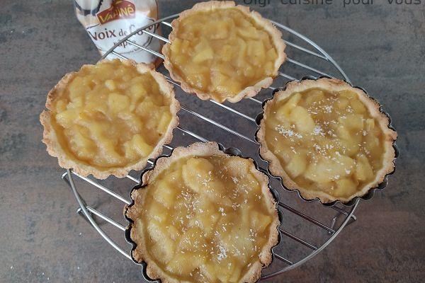 Recette Tartelettes sablées noix de coco pommes au cake factory