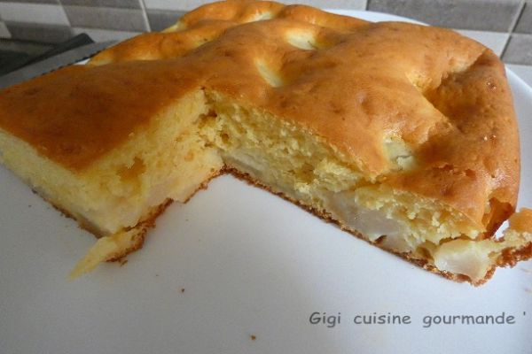 Gâteau au yaourt de soja et poires au Cake Factory