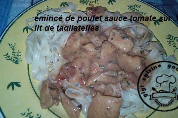 Recette EMINCE de POULET tomates et tagliatelles au cookéo