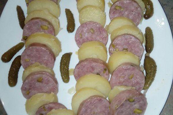 Recette salade tiède de saucisson lyonnais et pommes de terre (cookéo)