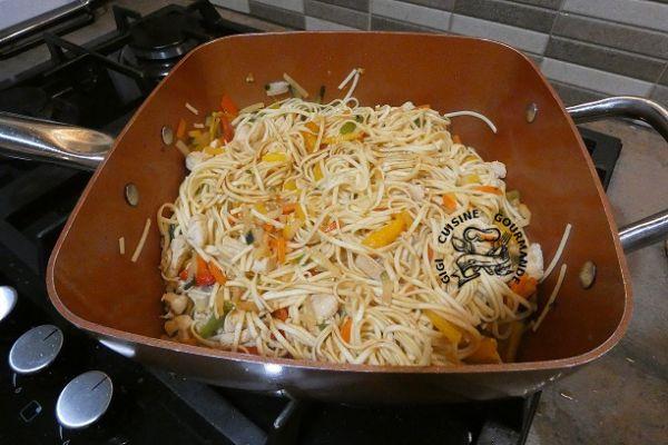 Nouilles chinoises aux légumes et poulet