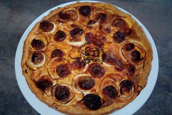 Recette Tarte aux oignons et chorizo