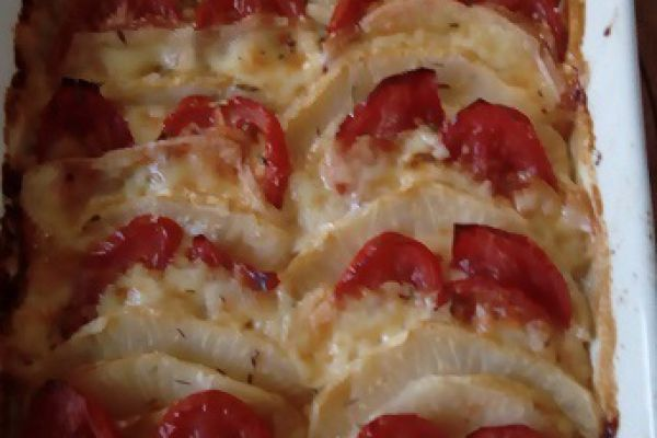 Lasagnes de céléri tomates et fromage à raclette