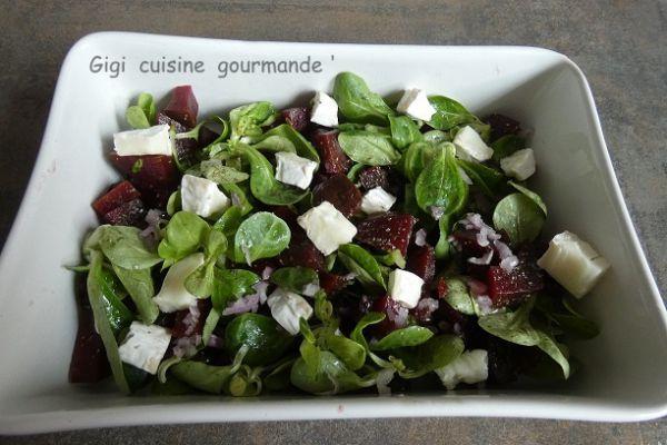 Recette Salade de mâche, betterave et chèvre