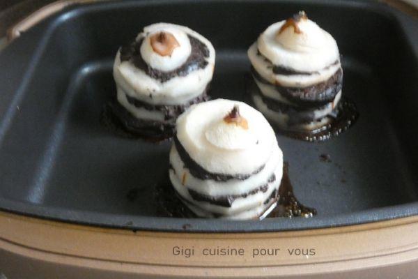 Tours de poires et boudin noir avec le cake factory