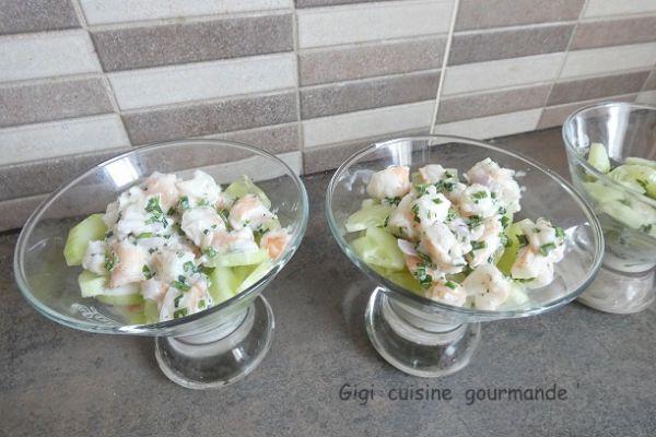 Verrine de concombre et crevettes