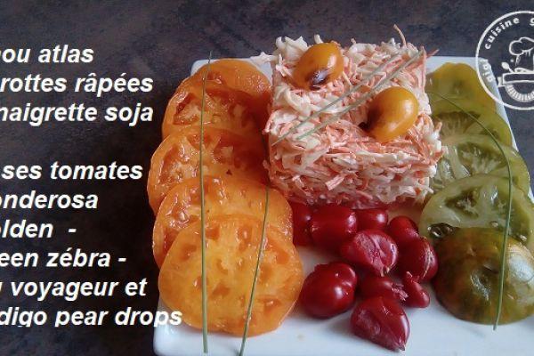 Recette CHOU ATLAS, CAROTTES RAPEES , VINAIGRETTE SOJA et ses tomates