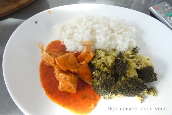 Recette Mijoté de poulet au brocolis et riz au cookéo