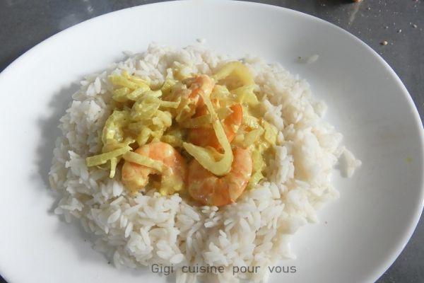 Recette Fenouil aux crevettes et lait de coco