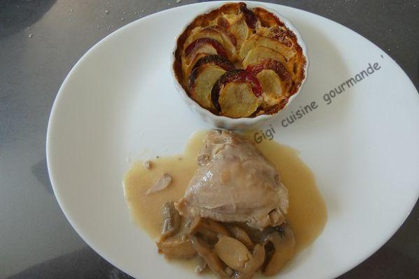 Recette Hauts de cuisse de poulet à la crème et champignons