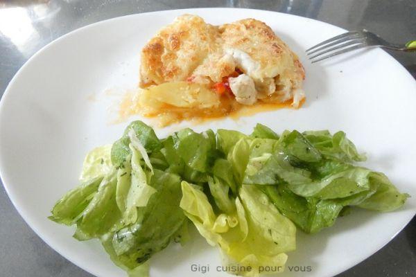 Recette Gratin de pommes de terre avec poulet et poivron rouge