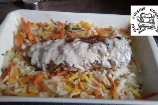Recette Filet mignon sauce Saint Agur et sa julienne de légumes