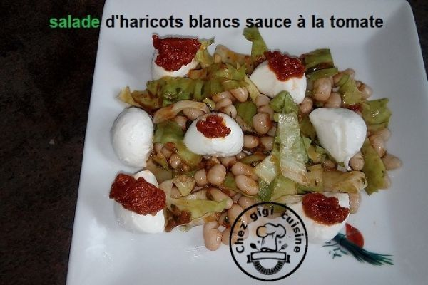 Recette Salade haricots blancs mozarella tomate sechee