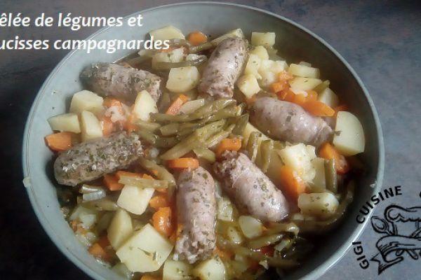 Recette POELEE DE LEGUMES et SAUCISSES CAMPAGNARDES (cookéo)