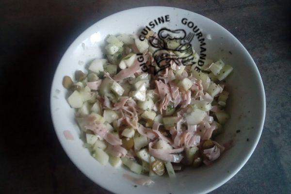 Recette Concombre et mortadelle en salade