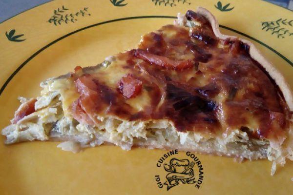 Recette tarte aux poireaux et lardons de saumon fumé