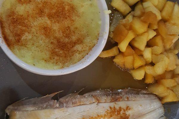 Recette Sole aux pommes poires caramelisees sauce fromage blanc