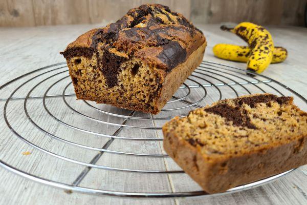Recette Cake à la banane marbré vanille/chocolat (sans sucre ni beurre