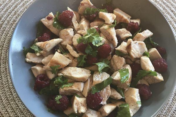 Recette Salade de poulet aux framboises