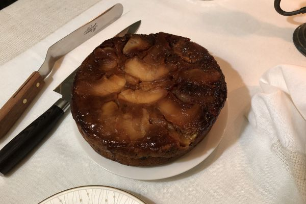 Recette Gâteau de Montréal caramélisé aux pommes, bananes et raisins