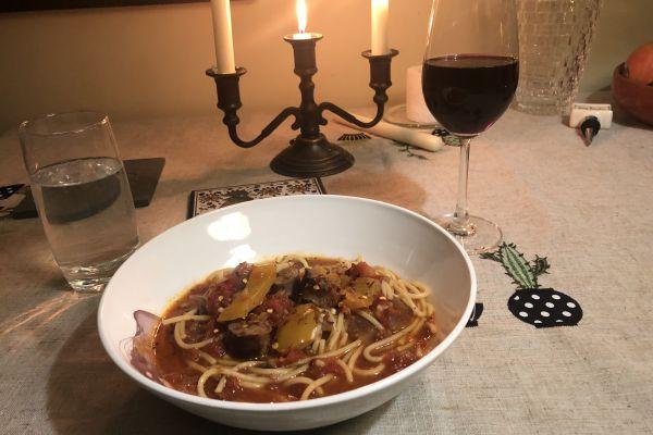 Recette Spaghettoni aux saucisses de canard  à l'estragon