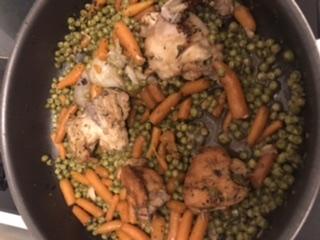 Recette Poulet aux petits pois/carottes