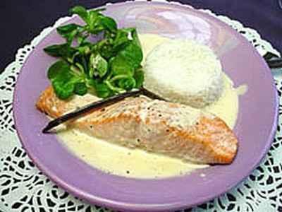 Recette Dos de saumon et sa sauce vanille