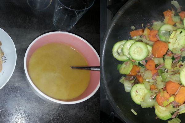 soupe aux légumes poêlés et bacon