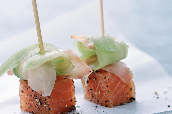 Recette Sucettes de saumon frais au gingembre mariné et concombre