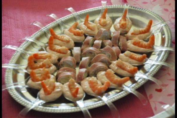Recette Mousse de saumon/carpaccio de St Jacques et roulade jambon
