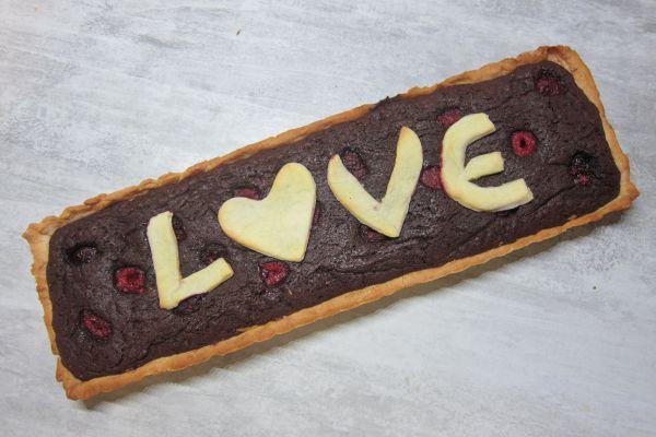 Tarte brownie aux framboises