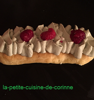 Eclair revisité chantilly mascarpone pistache
