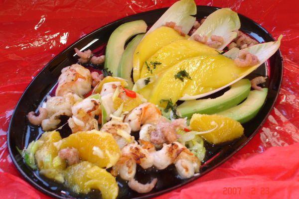 Salade de scampis a la mangue