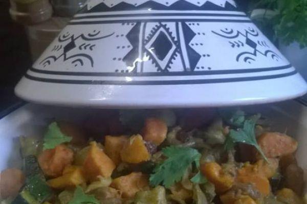 Recette Tajine de courgettes, patates douces et raisins secs