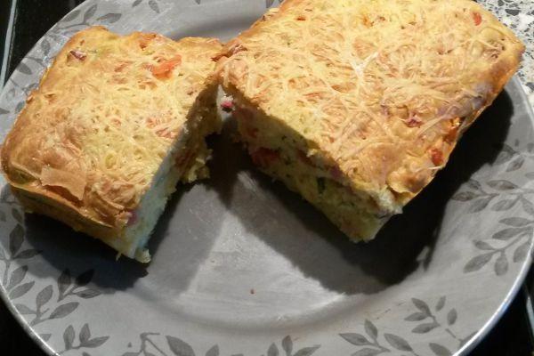 Recette Cake dés jambon, comté, tomates et basilic