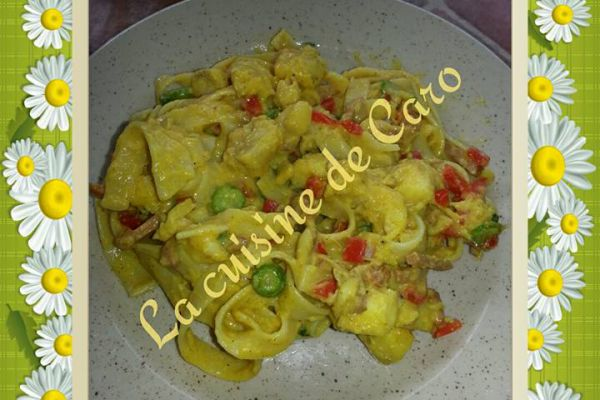 Recette Tagliatelle et lotte au curry