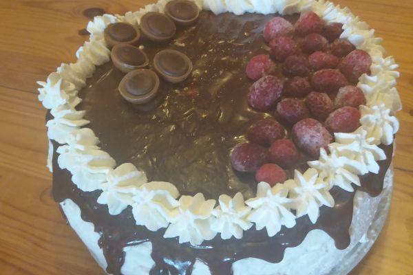 Layer cake chocolat vanille framboises