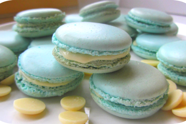 Recette Macarons ganache chocolat blanc/menthe
