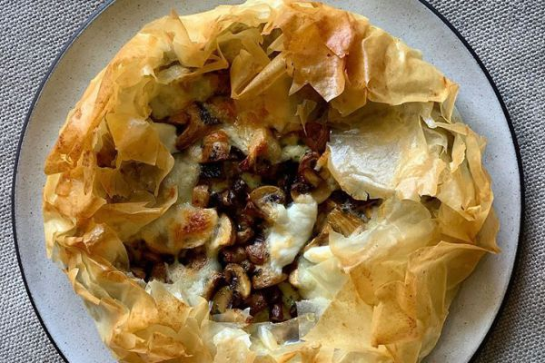 Recette Tarte croustillante mozzarella / champignons de Cyril Lignac