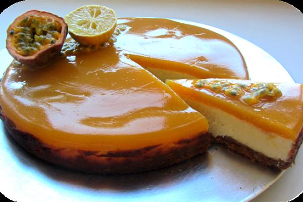Recette Cheesecake à la gelée de passion et mangue