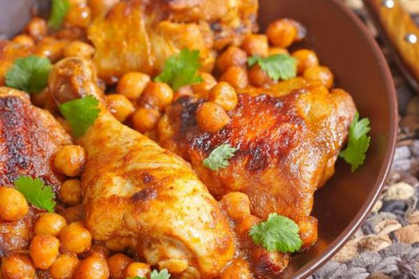 Recette Tajine de poulet aux pois chiches