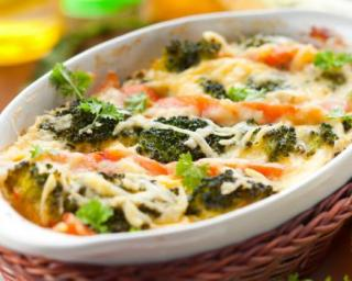 Recette Gratin léger de brocoli, chou-fleur et saumon