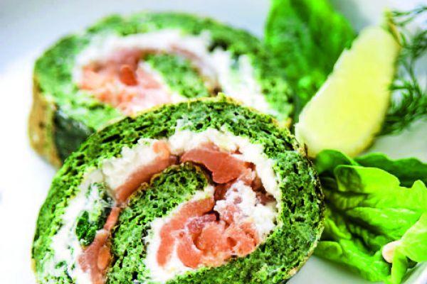 Recette Roulés au saumon & épinards