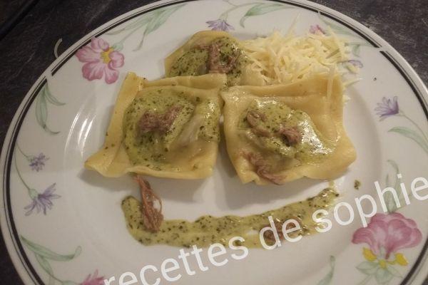 Recette Raviolis au bœuf et pesto basilic
