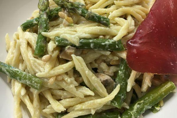 Recette Pâte aux champignons et asperges de Yann