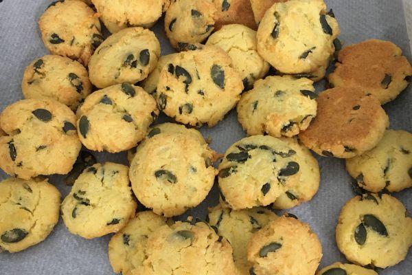 Recette Cookies salés de Thomas (maïs/graines de courges)