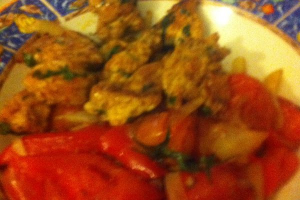 Recette Brochette de poulet sauce soja aux poivrons rouges