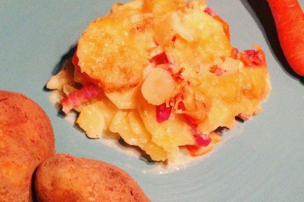 Gratin de pomme de terre, carottes et lardons