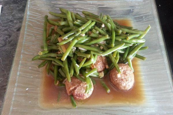 Recette Haricots verts & boulettes de viande COOKEO