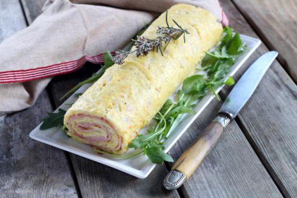 Roulé de pommes de terre, à la raclette & au jambon